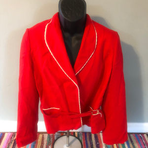 1970s Blazer Scalloped Fitted Suit Jacket Belt